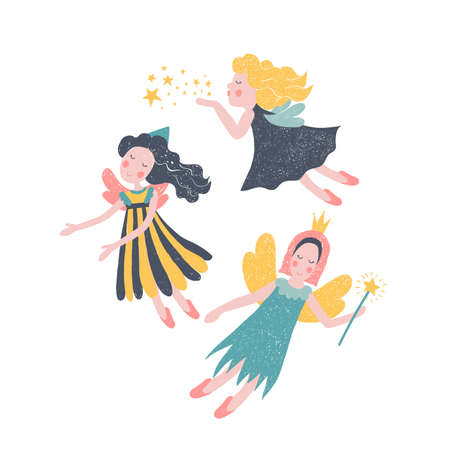 A girl dancing in the air and two fairies, one holding a wand, the other blowing a kiss.