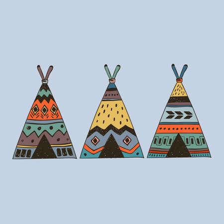 Tribal illustration of 3 boho wigwam. Illustration