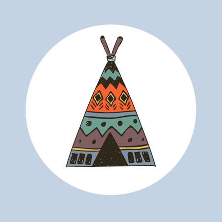Tribal illustration of boho wigwam.