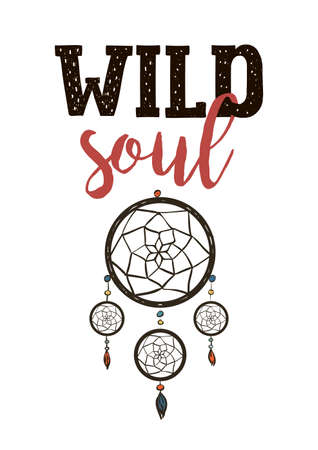 Boho style letters, wild soul with dream catcher Çizim