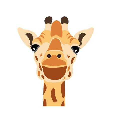 Cartoon giraffee head image illustration Vectores