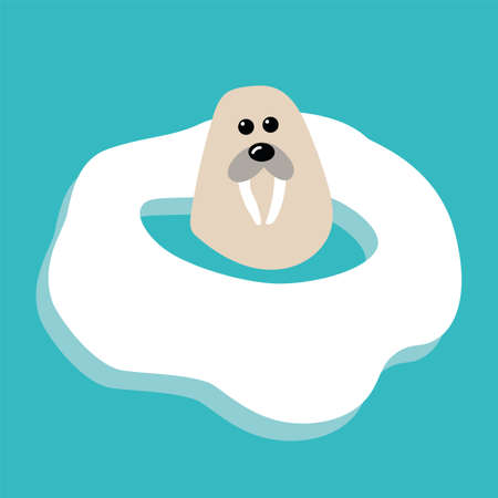 Arctic animal, illustration in flat style, polar walrus