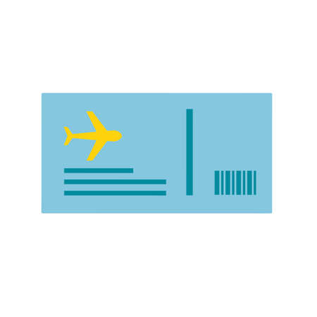 Vector illustration of traveling ticket in simple flat style Çizim