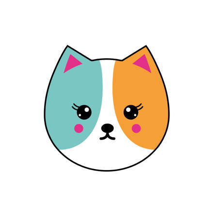 Vector icon set with cat in flat style