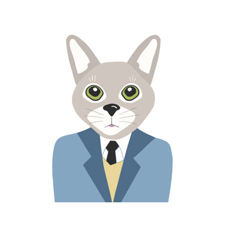 Vector portrait  with cat in flat style