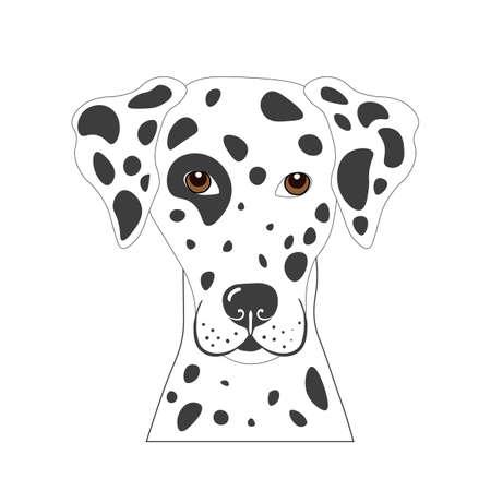 Retrato de vector de perro dálmata en estilo plano Ilustración de vector