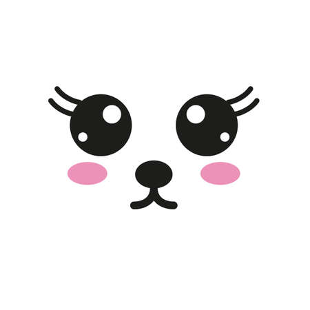 Vector illustration  with kawaii face in flat style Çizim