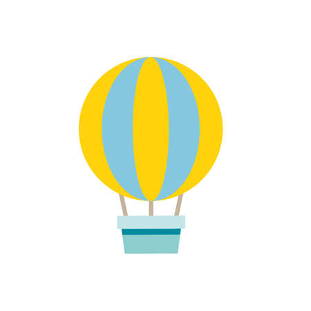 Vector illustration of traveling air balloon in simple flat style