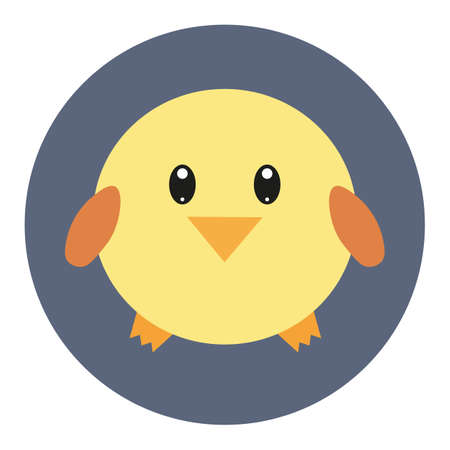 Vector icon with kawaii chicken in flat style