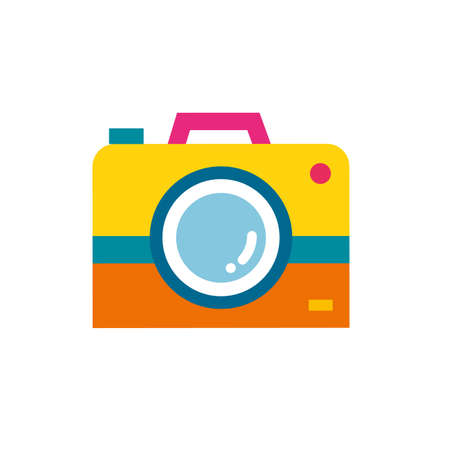 Vector illustration of photo camera in simple flat style Çizim