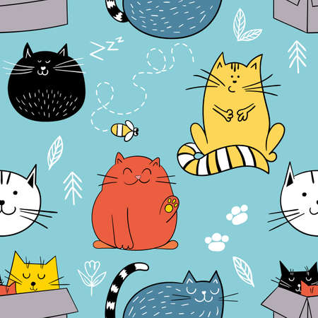 Vector seamless pattern with funny cats in doodle style