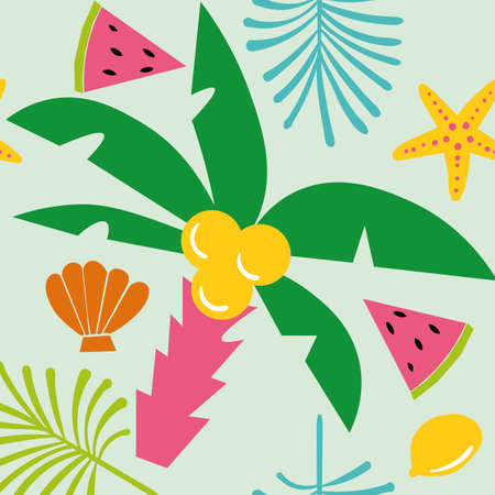 Seamless vector summer pattern in trendy flat style