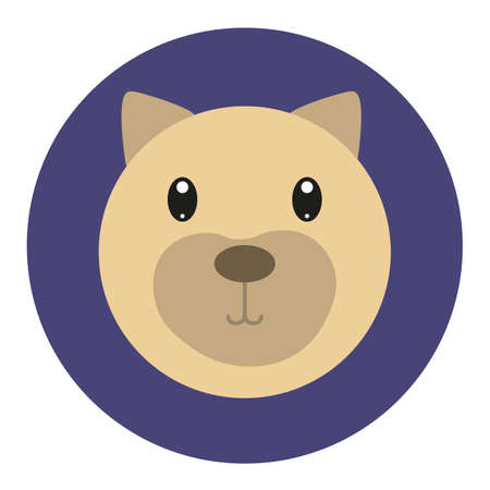 Vector icon with dog  in flat style Çizim