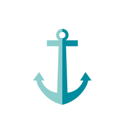 Vector illustration of traveling anchor in simple flat style Çizim