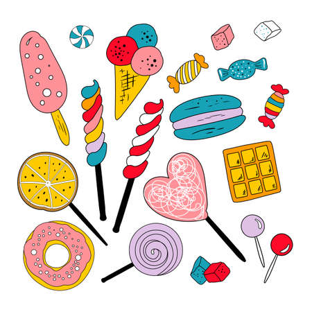 Collection of vector sweets, candies, cakes, lollipops, icecreams, cookies Çizim