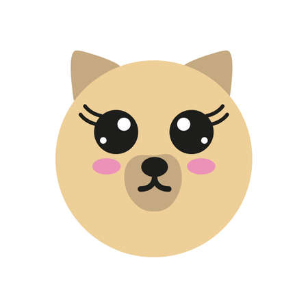 Vector icon with kawaii puppy  in flat style
