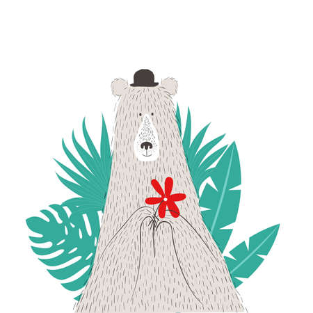 Cute vector hand drawn portrait of bear with palm leaves
