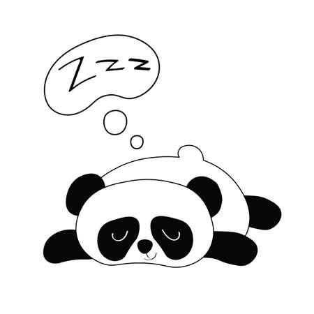 Vector flat illustration with funny sleepy panda