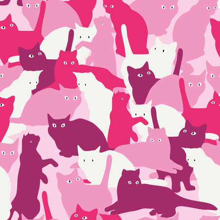 Vector seamless pattern with cats in military style