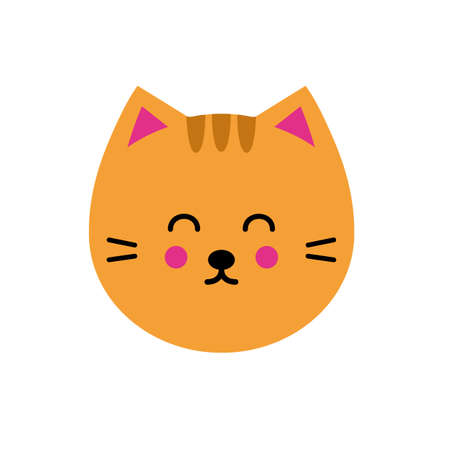 Cute vector illustration with cat in trendy flat style