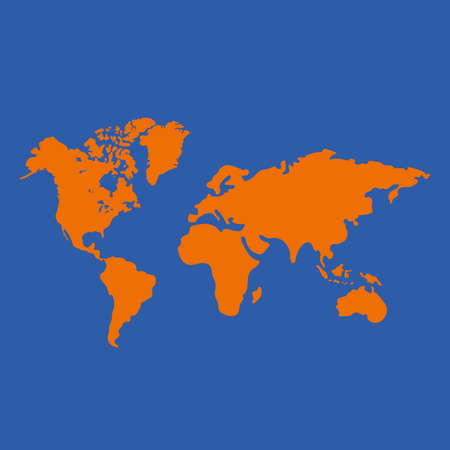 Vector illustration of world map in simple flat style