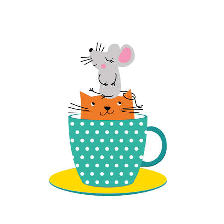 Cute illustration with cat and mouse in cup