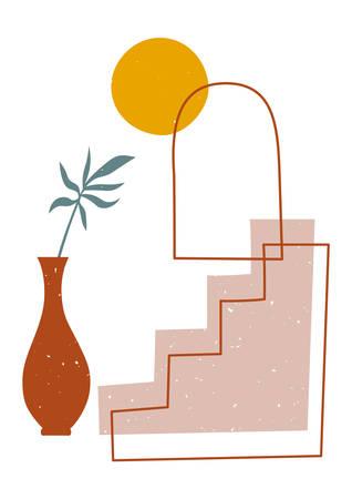 Modern illustration in trendy earthy hues Stok Fotoğraf - 131727964