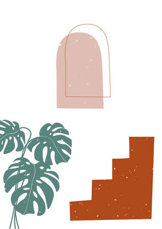 Modern illustration in trendy earthy hues