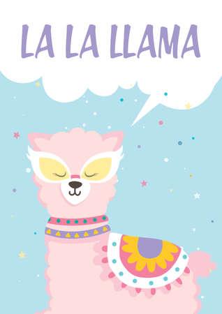 Cute flat illustration with a Llama Alpaca