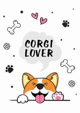 Cute vector illustration poster design with Corgi Illustration