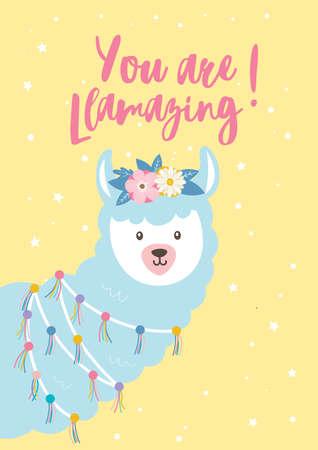 Cute flat illustration with a Llama Alpaca Illustration