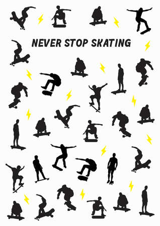 Vector illustration with a skate board background