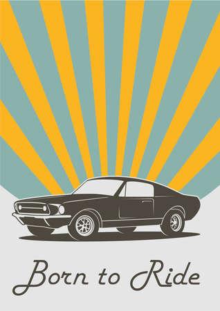 Vector vintage retro car print cover Banque d'images - 137790587