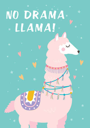 Cute flat illustration with a Llama Alpaca Ilustracja
