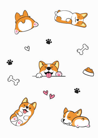 Cute vector illustration poster design with Corgi Ilustracja