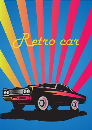 Vector vintage retro car print cover