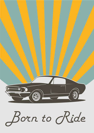 Vector vintage retro car print cover