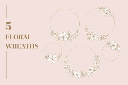 Cherry Blossom vector set with floral wreaths