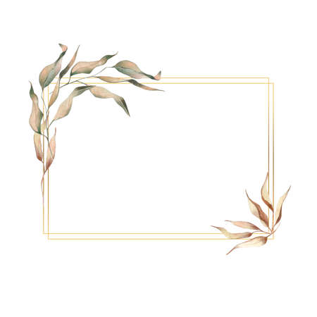 Watercolor frame in Boho style with dried plants