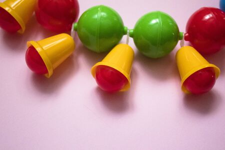 children's colorful rattle, baby stroller toy, close-up