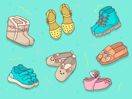 Set of cartoon children's shoes of different colors on a mint background