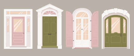 Two green doors and two pink doors of different shapes and sizes 일러스트
