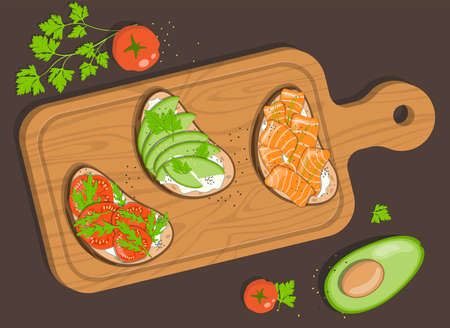 Board with three bruschettas with cottage cheese, red salt fish, avocado, tomatoes and herbs. Ilustrace