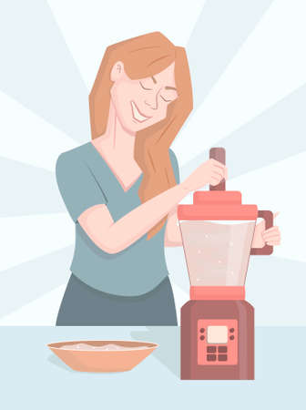 A cartoon woman is standing in the kitchen next to a blender. Makes healthy food (smoothies, porridge, oatmeal) from fruits and vegetables. Healthy lifestyle, veggie, detox.