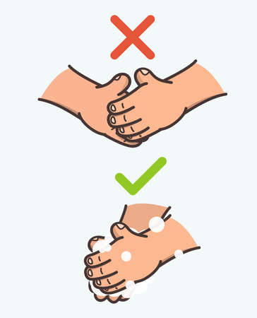 The cartoon image of how to wash your hands thoroughly with soap against a coronavirus, and you cant shake hands so as not to get infected.