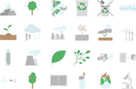 Set of multi-colored icons on the theme of nature, climate and ecology, pollution