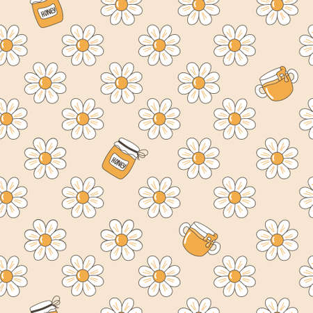 Vector image of a seamless cartoon pattern of daisies and jars of honey.