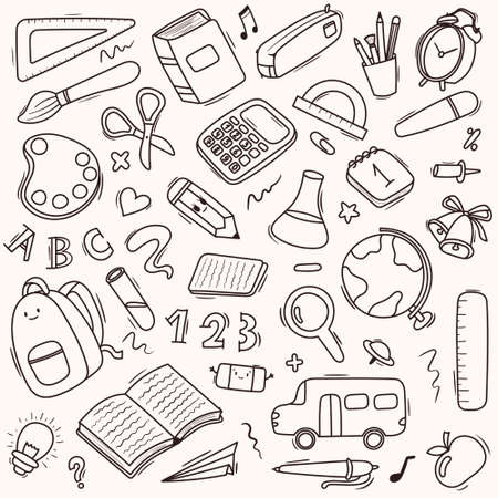 Vector seamless doodle pattern school and school supplies, stationery, books, backpacks, school bus. Black and white.