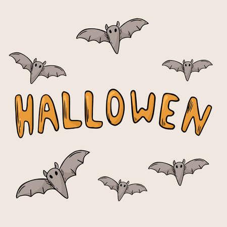 Vector doodle illustration. Large banner inscription Halloween. Bats decoration. Illusztráció