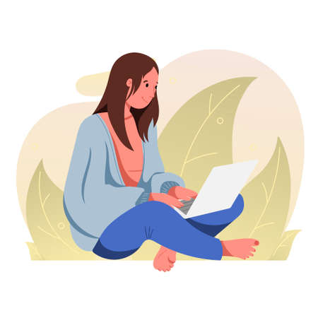 Vector flat illustration. Woman in front of a laptop. New normal, meeting with family and friends via video link.